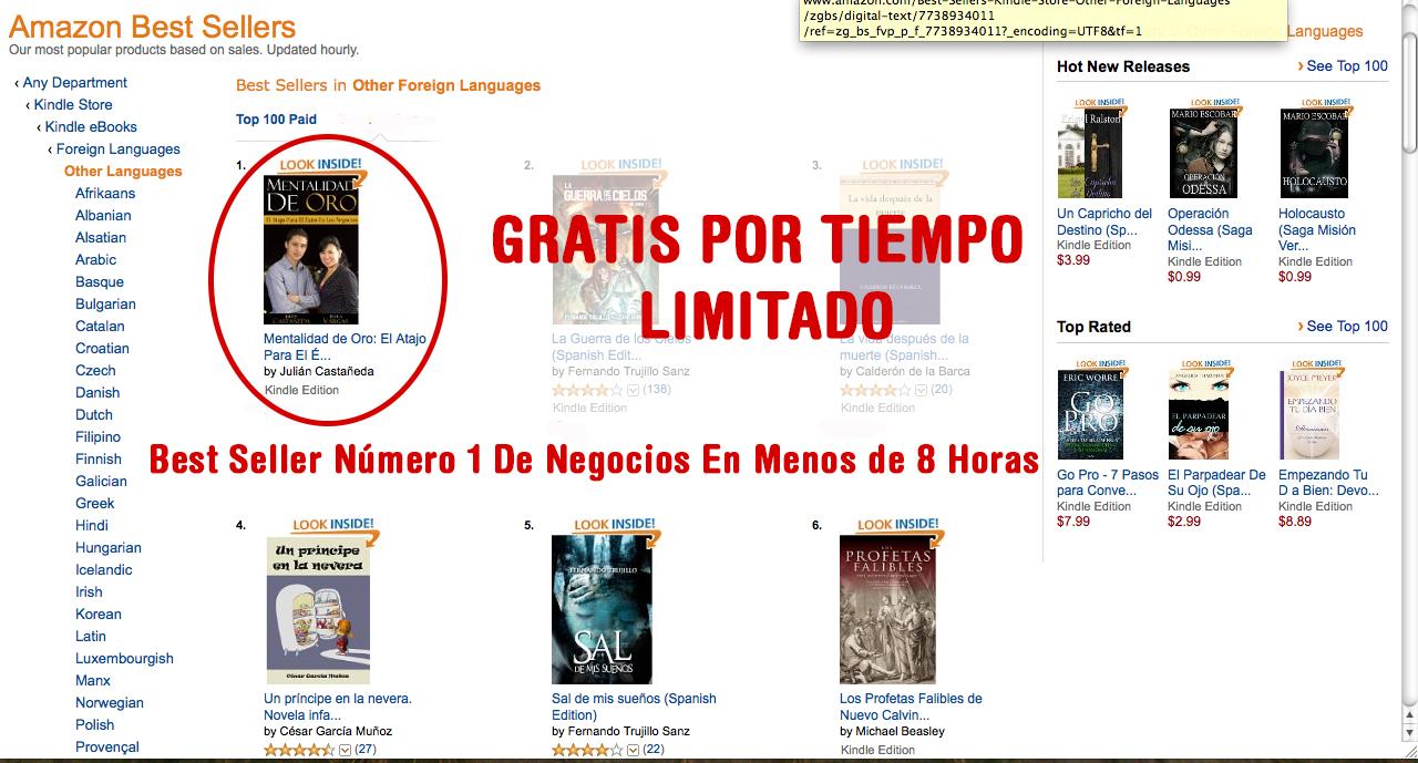 Libro de negocios Best Seller gratis mentalidad de oro
